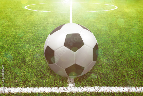 Soccer ball on the grass Poster