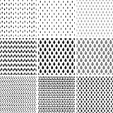 Set of line monochrome abstract seamless pattern with drops