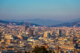 Barcelona city skyline with Sagrada familia