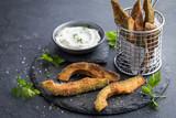 crispy avocado fries with garlic yogurt sause - 138925205