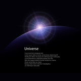 View from Space, Space Star Rises above the Planet, the Sun Rising over the Earth, Rays and Glare over the Planet Earth , Poster Brochure Flyer Design, Vector Illustration