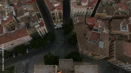 Aerial view of ancient Serranos Towers of 14th century with following panorama of Valencia, Spain