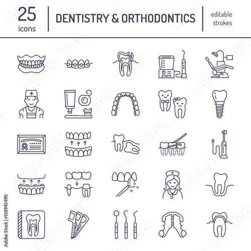 Fototapeta Dentist, orthodontics line icons. Dental care equipment, braces, tooth prosthesis, veneers, floss, caries treatment and other medical elements. Health care thin linear signs for dentistry clinic.