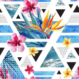 Abstract summer geometric seamless pattern with exotic flowers