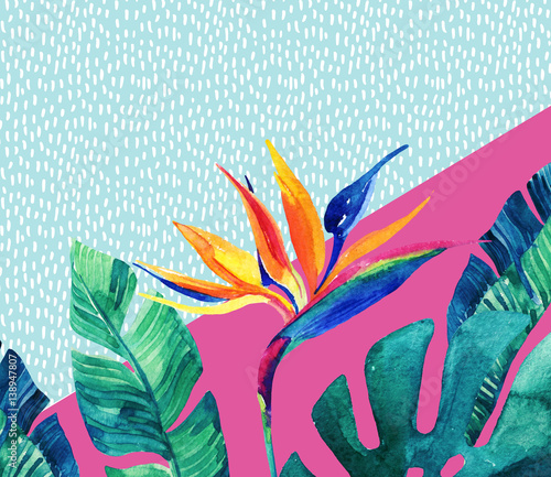 Abstract tropical summer design in minimal style. - 138947807