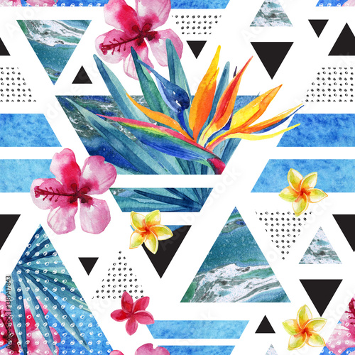 Abstract summer geometric seamless pattern with exotic flowers - 138947843