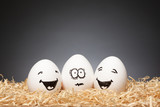 Funny little Easter Egg Stories, hand drawn faces  with expression: One Scared, Two Smiling - 138957866