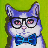 Original oil painting on canvas - Pop Art - Cat in the Glasses