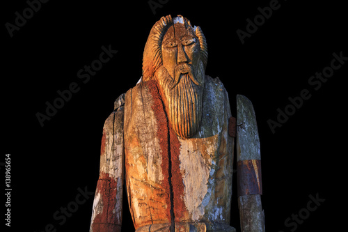 Norse God Odin isolated on black background Poster