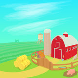 Farm landscape concept, cartoon style