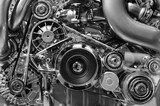 Car engine, concept of modern vehicle motor with metal, chrome, plastic parts, heavy industry, monochrome  - 138971834