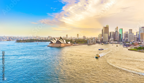 View of Sydney Harbour at sunset