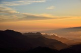 Silhouettes of mountains at sunset, from summit of Gran canaria, Canary islands
