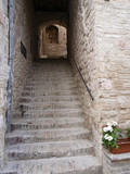 Old stone stairways in medieval city in Italy