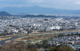 Panoramic city view of Kyoto in Monkey Park, Japan