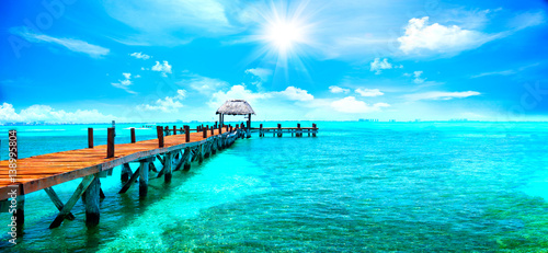 Exotic Caribbean paradise. Travel, tourism or vacations concept. Tropical beach resort