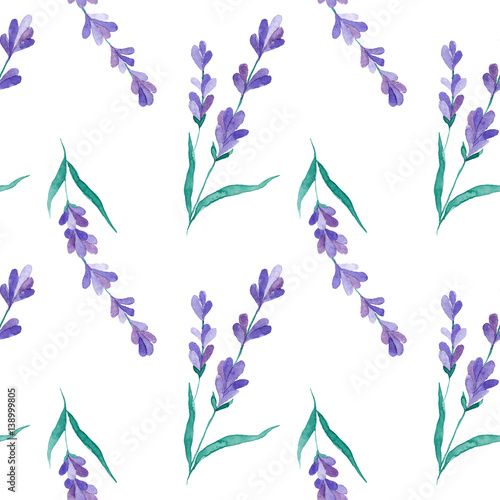 Watercolor vector pattern with Lavender. Hand painting. Seamless pattern for fabric, paper and other printing and web projects. - 138999805