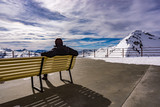 Landscape of Man Looking at the Horizon, Alps, Italy