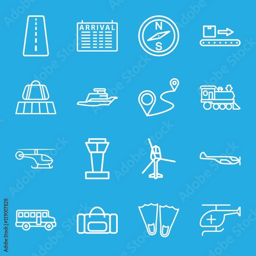 Set of 16 trip outline icons