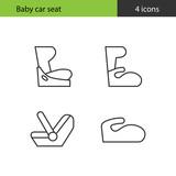 Baby car seat. Set of icons