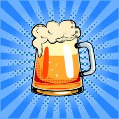 Mug of beer pop art vector illustration