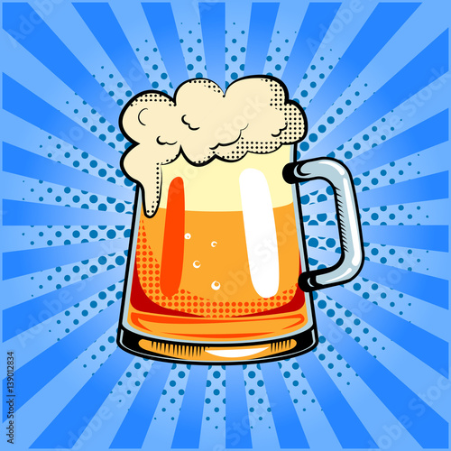 Mug of beer pop art vector illustration