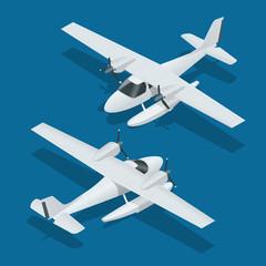 Isometric plane hydro aircraft. Air transportation infographics, vector illustration.