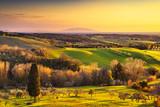 Maremma countryside, sunrise landscape. Elba island on horizon. Tuscany, Italy.