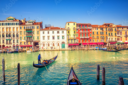 Gondola on Grand canal in Venice, Italy Poster