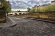 Cobblestone ramp to Seine River, Paris