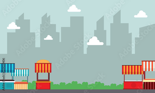 Fotobehang Lichtblauw Lined street stall landscape with building background