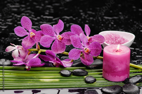 Poster Spa Still life with Pink orchid with black stones with candle ,,salt in bowl green plant