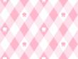 チューリップと斜めギンガムチェック風柄のかわいいシームレスパターン ピンク系 ベクター