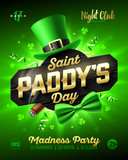 Saint Paddys Day party poster design, 17 March, Patricks Day  nightclub invitation with leprechaun hat, gold lettering, party streamers, green bow tie and smouldering cigar