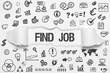 Find Job / weißes Papier mit Symbole