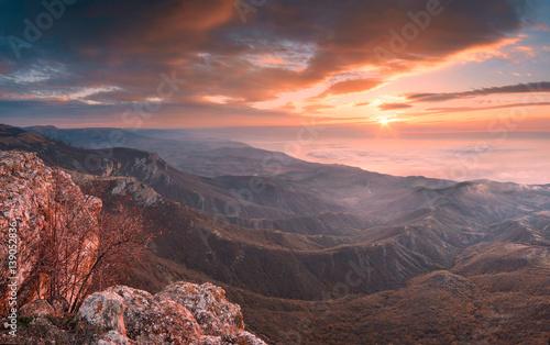 Majestic sunrise above the Crimea mountains