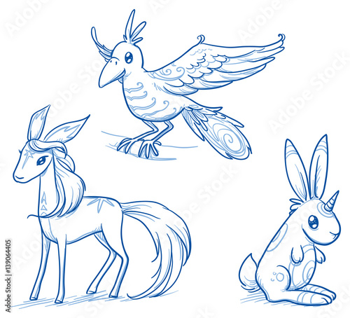 Set of fantastic animals, creatures, flying bird, magical horse deer, rabbit unicorn. Hand drawn doodle vector illustration. - 139064405