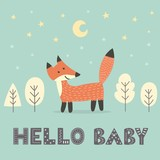 Fototapety Baby shower card with a cute fox