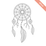Black line dream catcher isolated on white background. Decorative element. Traced by hand from own sketch - 139065484
