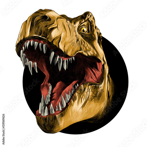 Fototapeta dinosaur head sketch vector color drawing of a brown leather