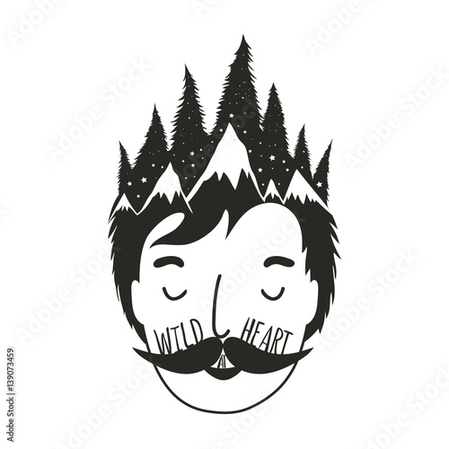 Vector illustration with man head and pine forest in his hair Poster