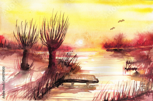 Foto op Canvas Schilderkunstige Inspiratie Watercolor landscape with trees.