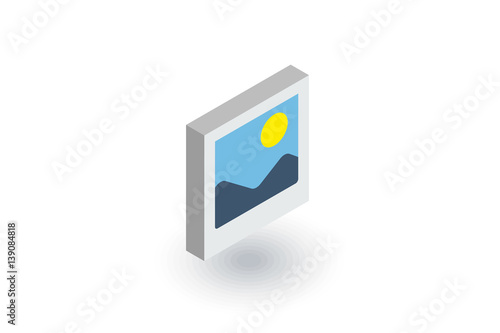 photo image, photography file, picture gallery isometric flat icon. 3d vector colorful illustration. Pictogram isolated on white background