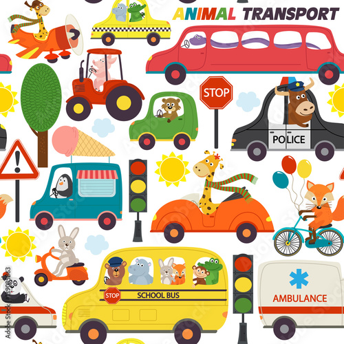 Materiał do szycia seamless pattern transports with animals - vector illustration, eps
