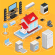 Vector isometric abstract illustration smart home, controlling through internet home work equipment.