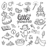 Little princess funny graphic set. Girls dress, butterfly, mirror, sweets, gifts, diamond ring, dragon, hearts and stars. Isolated elements on a white background