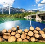Fototapety Renewable Energies - Wind Solar Biomass Hydropower