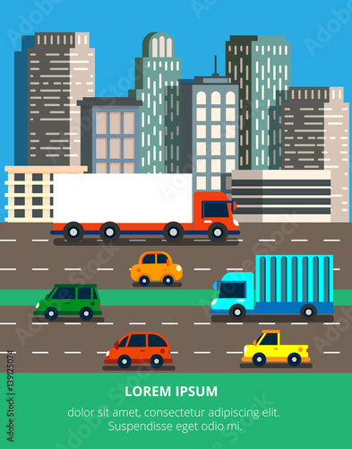 Vector illustration in modern flat style with traffic jam in a b