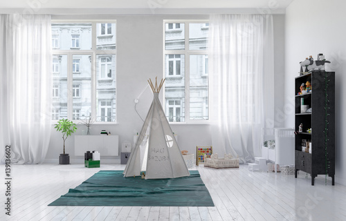 Small tepee in a kids playroom interior
