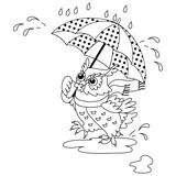 Vector Black and Owl, Digital Vector Owl, Umbrella, Owl with Umbrella